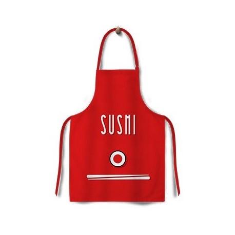 Czerwony fartuch kuchenny sushi 65 x 75 cm Wasabi Sushi Shop Wrocław Sklep Orientalny