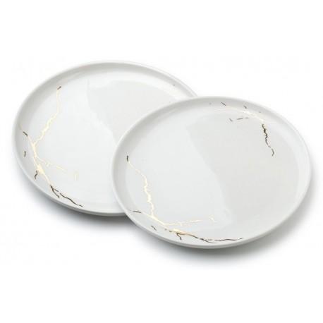 Komplet 2 talerzy Kintsugi White 26 cm Wasabi Sushi Shop Wrocław Sklep Orientalny