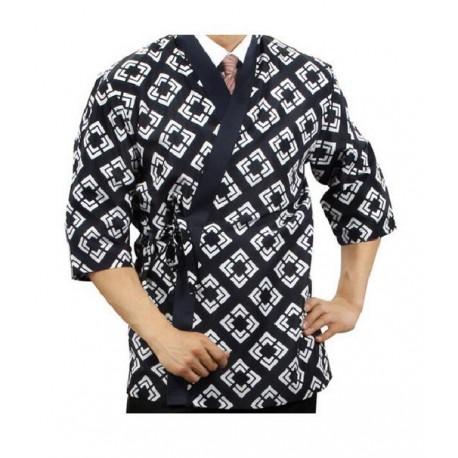 Kimono kucharskie czarne XL wzór romb Sklep Wasabi Sushi Shop Wrocław produkty i akcesoria do sushi i kuchni orientalnej