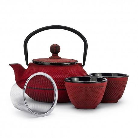 Czerwony żeliwny czajnik 0,6 l z zaparzaczem, pokrywką i 2 czarkami 120 ml Wasabi Sushi Shop Wrocław Sklep Orientalny