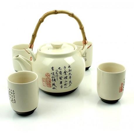 5 częściowy zestaw do herbaty Ecru  Sklep Wasabi Sushi Shop Wrocław produkty i akcesoria do sushi i kuchni orientalnej
