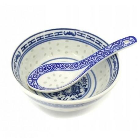 Chińska niebieska porcelana ryżowa zestaw miseczka 240 ml i łyżeczka Wasabi Sushi Shop Wrocław Sklep Orientalny